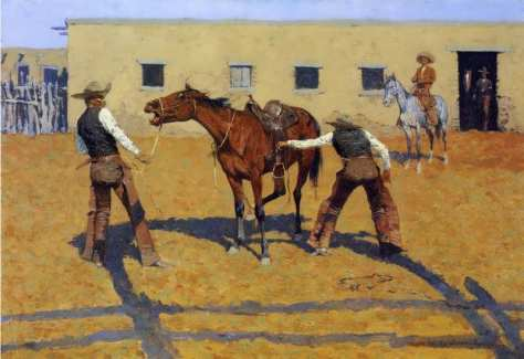 his-first-lesson-frederic-remington